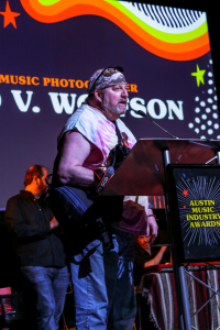 Todd V. Wolfson after getting stopped by The Man on his way to accepting Best Music Photographer. Photo by Nicole Berlin Photography.